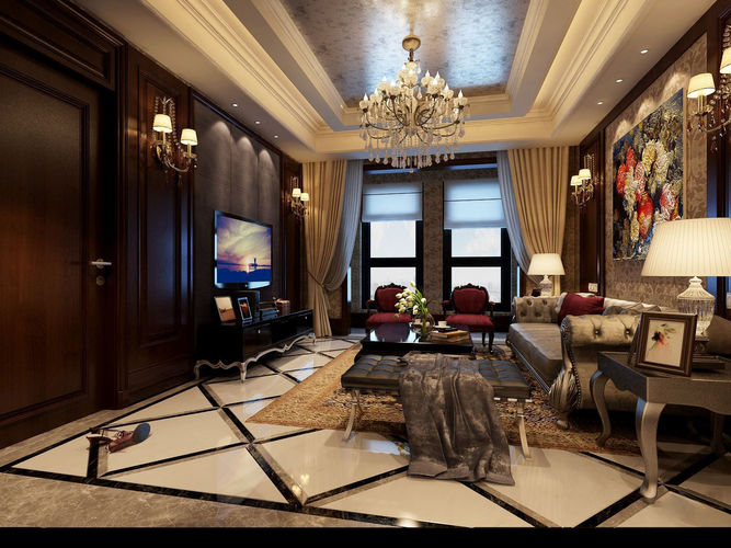 Realistic living room design 029 3d model max for Living room designs 3d model