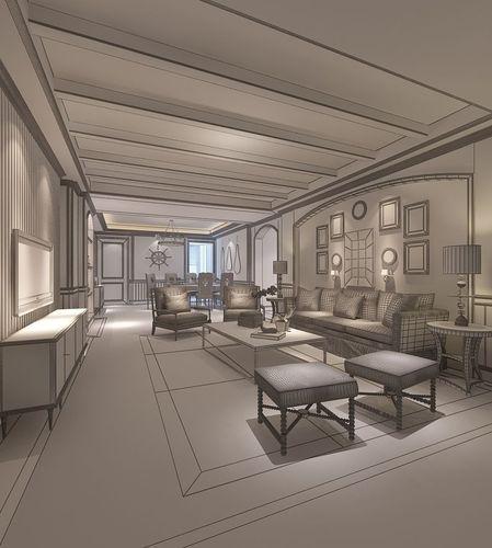Realistic Living Room Design 021 3d Model Max
