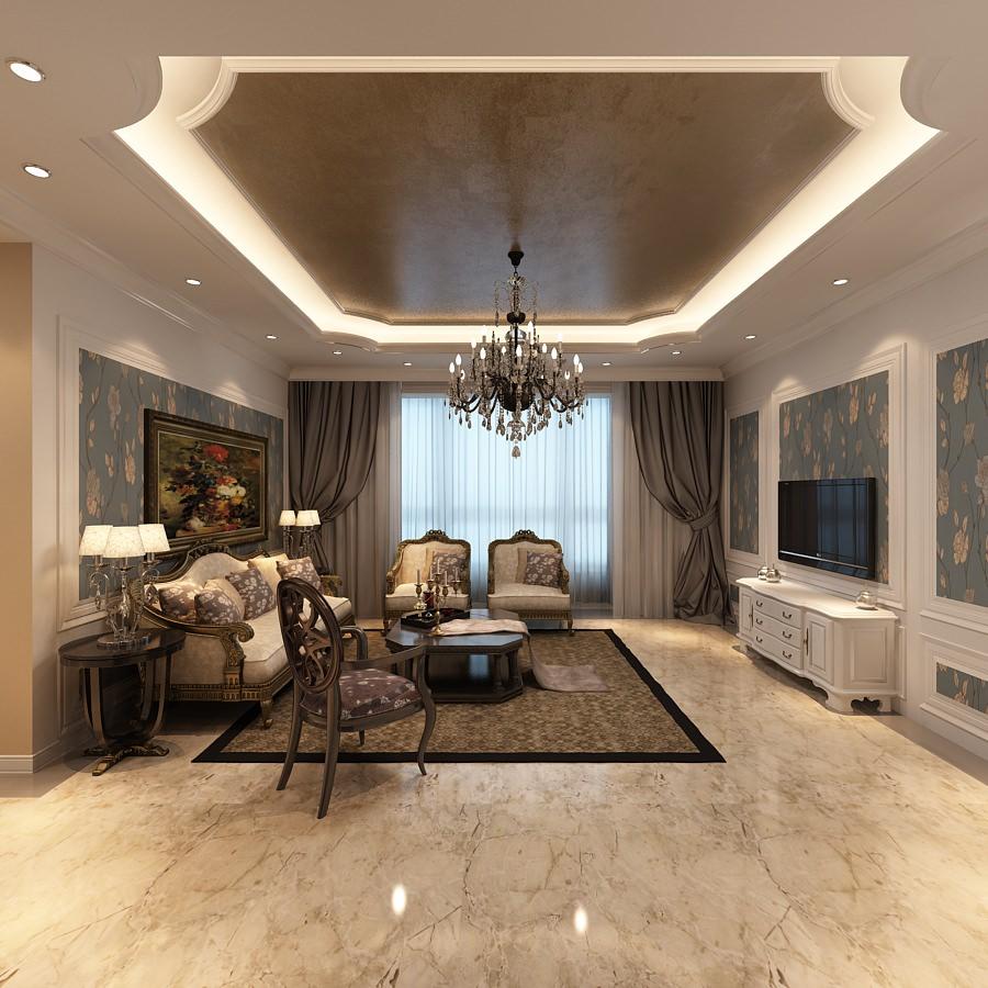 Elegant living room photoreal 3d model max for Living room 3d model