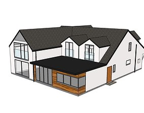 3D Contemporary rendered detached house
