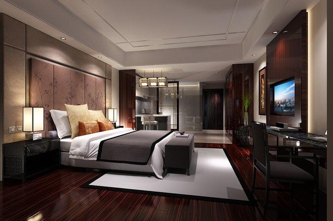 3d model furniture bedroom or hotel room photoreal for Interior design bedroom 3d max