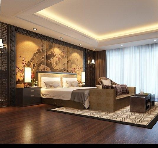 Bedroom Asian Decor 3D