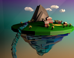 Low Poly Floating Island 3D model