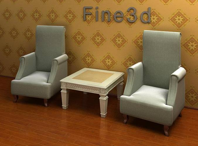 arm chairs and end table combination 3d model max obj 3ds cgtrader