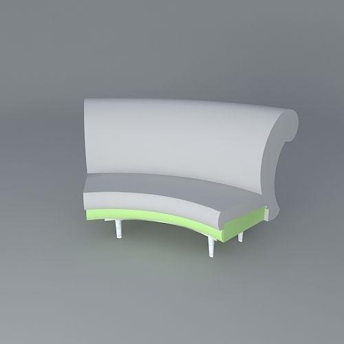 Curved Back Sofa Free 3d Model Max Obj 3ds Fbx Stl Dae