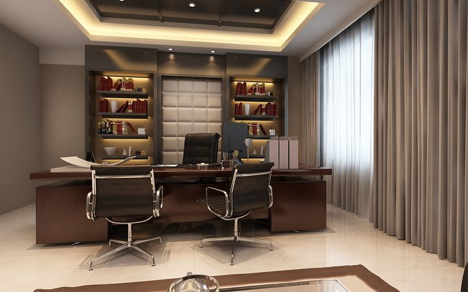 Photoreal executive office 3d model cgtrader for Office design 3d max