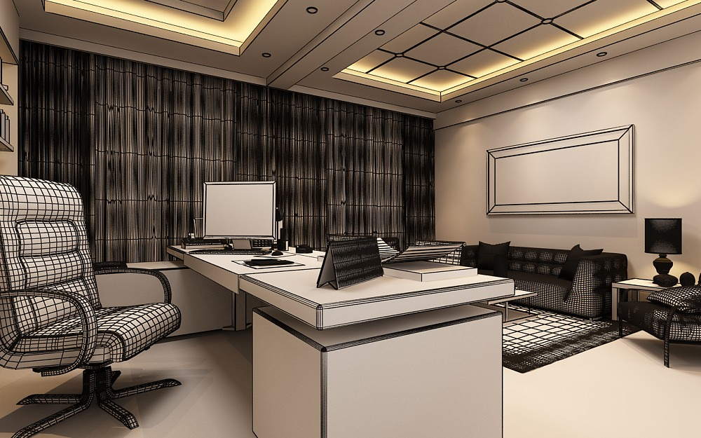 Photoreal Executive Office 3d Model Max
