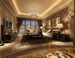 Living Room Photoreal interior 3D