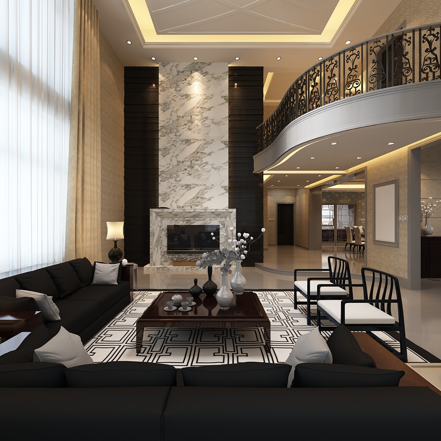 ... Elegant Living Room With Balcony 3d Model Max 3 ...