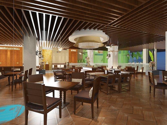 Restaurant dining room 3d model cgtrader for Restaurant 3d max