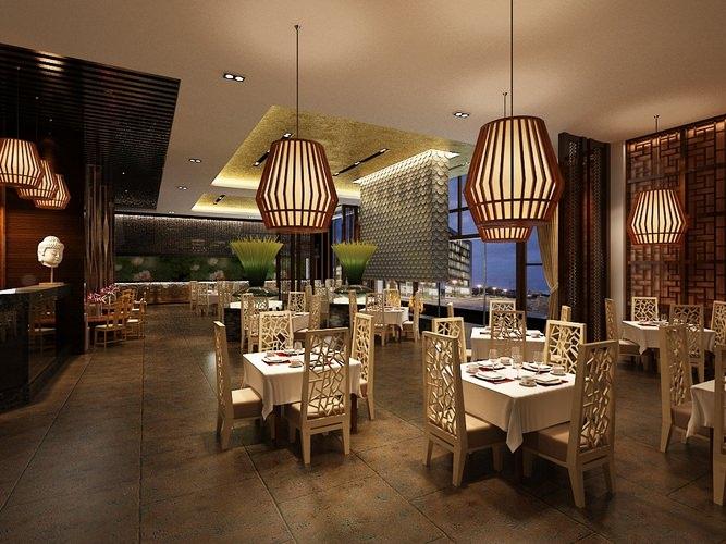 Restaurant dining room bistro 3d model cgtrader for Dining room 3d max model