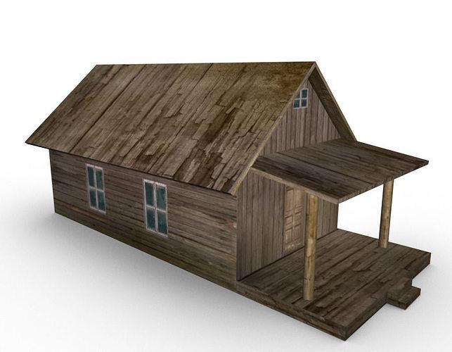 old farm house 3d model low-poly obj mtl fbx ma mb 1