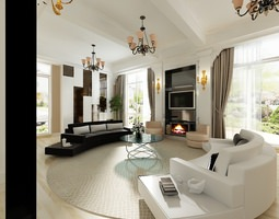 3d oval living room