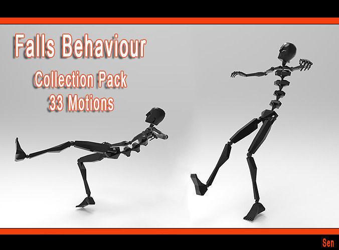 falls behaviour collection pack 3d model rigged max fbx bip bvh 1