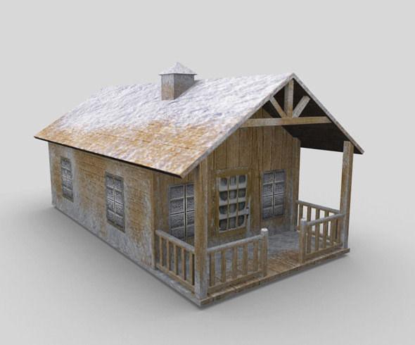 snow covered cottage house 3d model obj fbx ma mb mtl 1