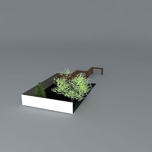 Low maintenance garden with gravel and paving free 3d for Low maintenance outdoor furniture