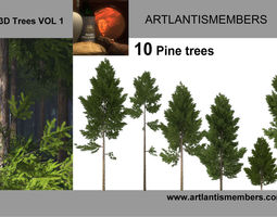 3D Pine tree collection