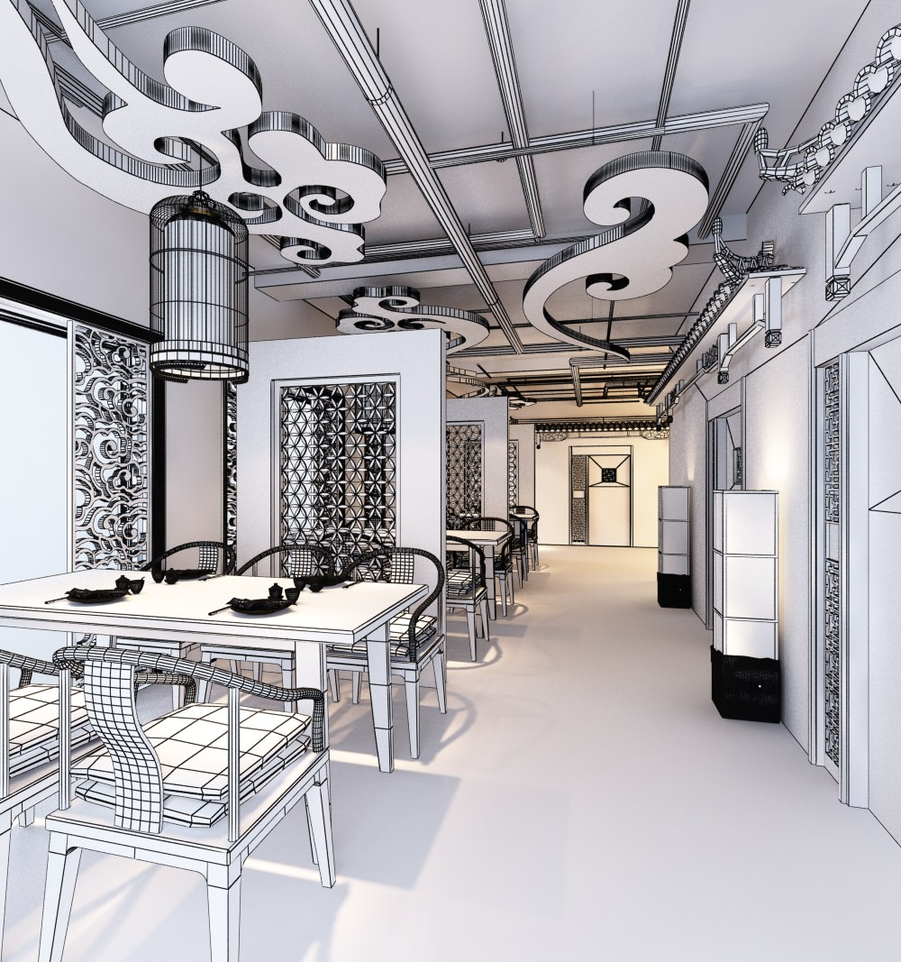 Oriental type restaurant interior d model max cgtrader