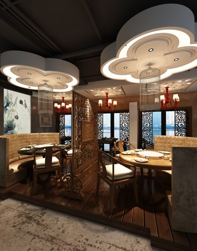 Photorealistic restaurant interior d cgtrader