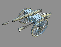 low-poly 3d asset beirish 3 inch breechloading cannon