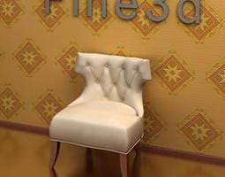 3d model white leather chair