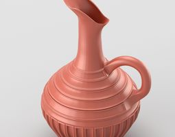 decorative jar with handle in terracotta colours 3d model