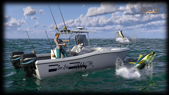 sea cat center console outboard fishing boat 3d model max obj mtl 3ds fbx c4d dae 1