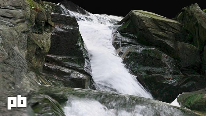 waterfall 3d model obj mtl fbx ma mb tga 1