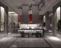 stylish luxury bathroom design 03 3d model