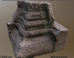 low-poly pillar base asymmetric ancient 3d asset