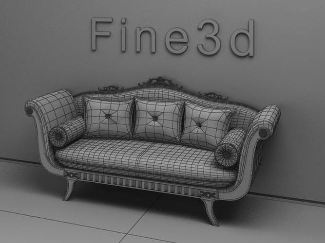 Old fashioned sofa 3d model max obj 3ds for Old fashioned couch