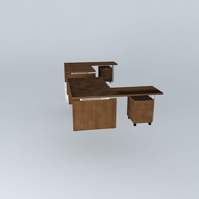 Office Desk With Mobile Pedestal 1800x1900x735mmh Free 3d