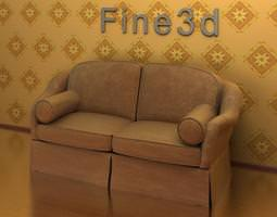 3D Brown Sofa with Cushions