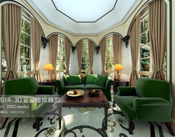 stylish luxury interior design 03 3d model