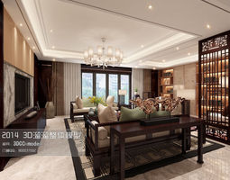stylish and luxurious living room design 239 3d model max
