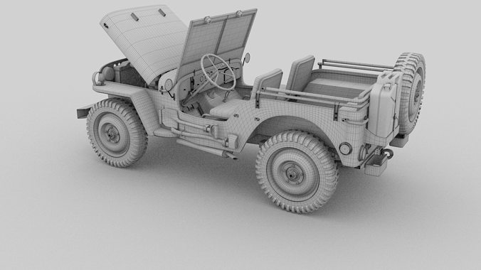 Souvent Full w chassis Jeep Willys MB Military 3D model | CGTrader EO28