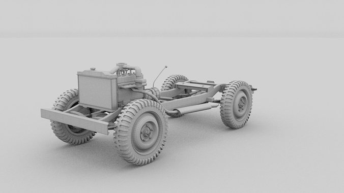 Souvent Full w chassis Jeep Willys MB Military Camo 3D model OBJ FBX STL  EO28