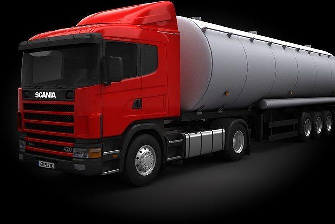 scania r420 tanker 3d model max obj fbx stl mtl 1