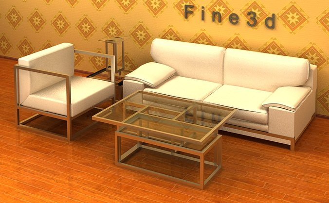 Living room furniture 3d model cgtrader for Living room 3ds max