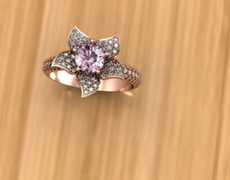 flower pink gold ring 3d model