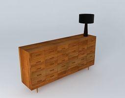 Multi drawer wooden chest 3D