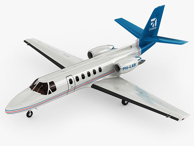 cessna 550 citation ii 3d model max obj mtl 3ds fbx c4d lwo lw lws 1