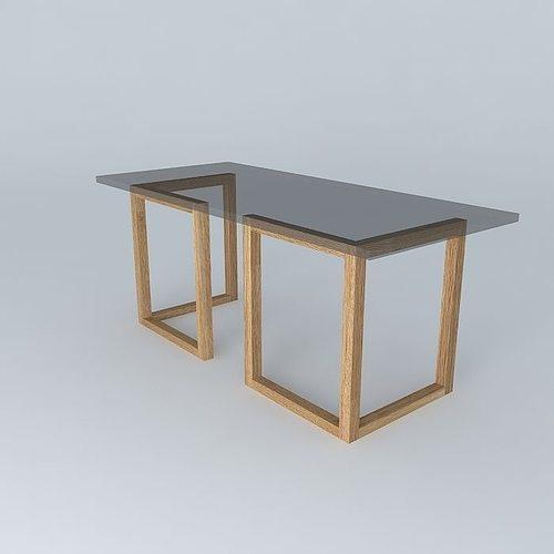 table glass top tressle legs 3d model max obj mtl 3ds fbx stl dae 1