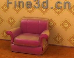 3D Glossy leather armchair