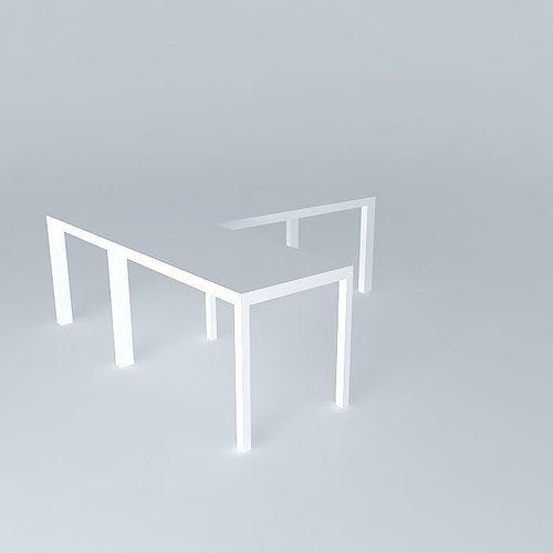 desk with return - white lacquer 3d model max obj 3ds fbx stl dae 1