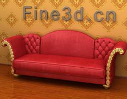 Red Pitched Sofa 3D model