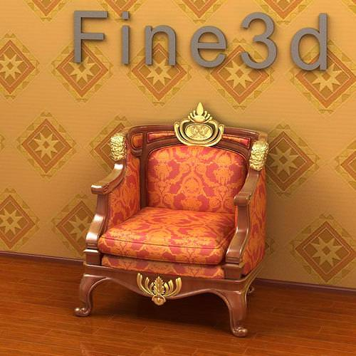 luxurious chair with golden details 3d model max obj 3ds 1