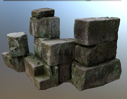 VR / AR ready scanned stone pile for rendering and games 3d model