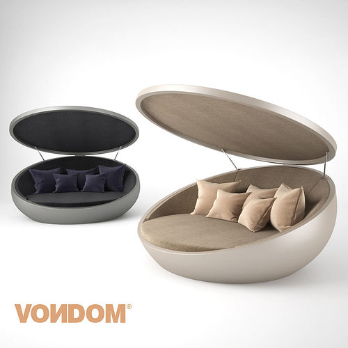 Vondom Ulm Daybed With Parasol 3d Model Max Obj Fbx