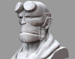 3d printable model hellboy bust
